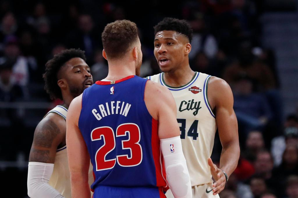 Detroit Pistons forward Blake Griffin (23) attempts a layup as Milwaukee Bucks forward Giannis Antetokounmpo (34) defends during the second half of Game 4 of a first-round NBA basketball playoff series, Monday, April 22, 2019, in Detroit. (Carlos Osorio / Associated Press)